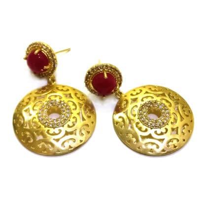 Studded Garnet Medallion Earrings