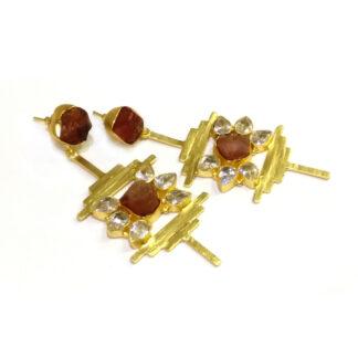 Carnelian Abstract Horizon Earrings
