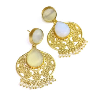 Moonstone Jharokha Cutwork Earrings