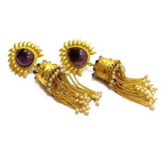 Amethyst Sunrise Golden Jhumki