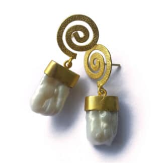 Baroque Golden Spiral Earrings