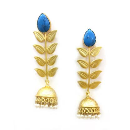 Turquoise Gold Vine Jhumkis