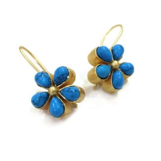 Five Petal Turquoise Earrings