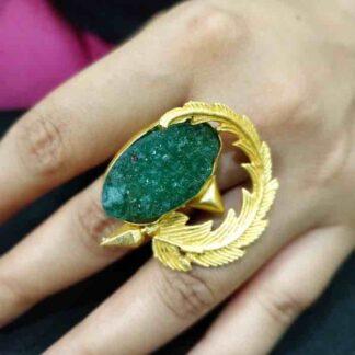 Green Druzy Whirlpool Ring