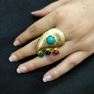 Textured Paisley Multistone Ring