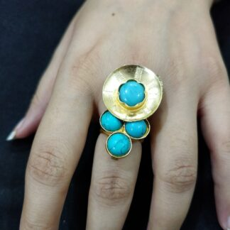 Turquoise Cluster Shield Ring