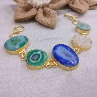 Five Stone Agate Bracelet