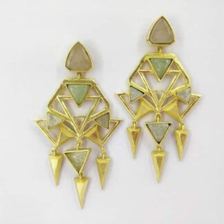 Art Deco Green Golden Earrings