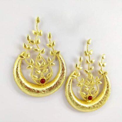 Golden Leaf Veil Earrings