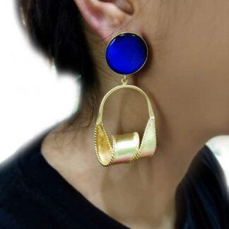 Blue 3D Twist Earrings