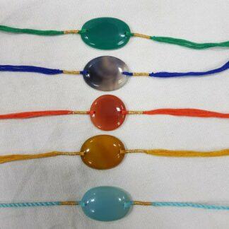 Handmade Natural Gemstone Rakhi Set of 5