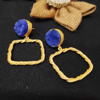 Gold Plated Twisted Wire Outline Druzy Earrings