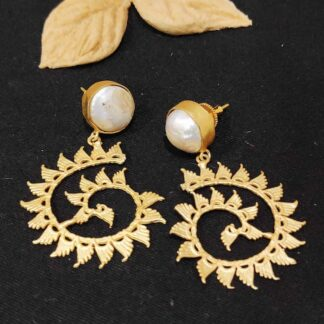 Textured Golden Spiral Baroque Pearl Earrings