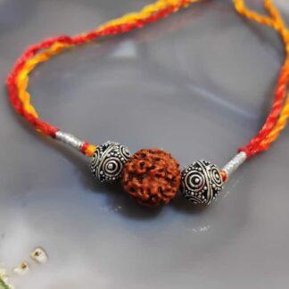 Sterling Silver Beads and Rudraksh Rakhi Main