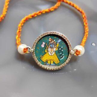 Sterling Silver Miniature Hand Painted Krishna Rakhi Main