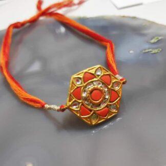 Hexagon Mandala Rakhi in 22K Gold with Diamond Kundan Side