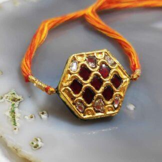 Heritage Jharokha Rakhi in 22K Gold & Kundan with uncut Diamonds Main